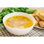 Soup with meatballs and toast with cheese 64238