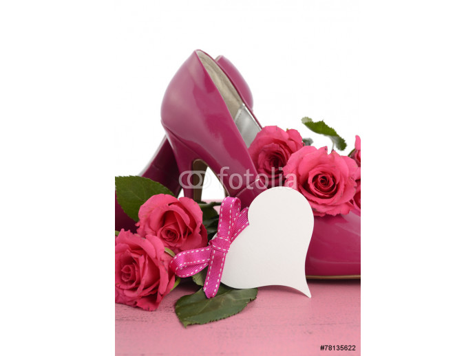 adies pink high heel stiletto shoes and roses  64238