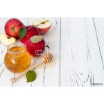 Apple and honey, traditional food of jewish New Year - Rosh Hashana. Copyspace background 64238