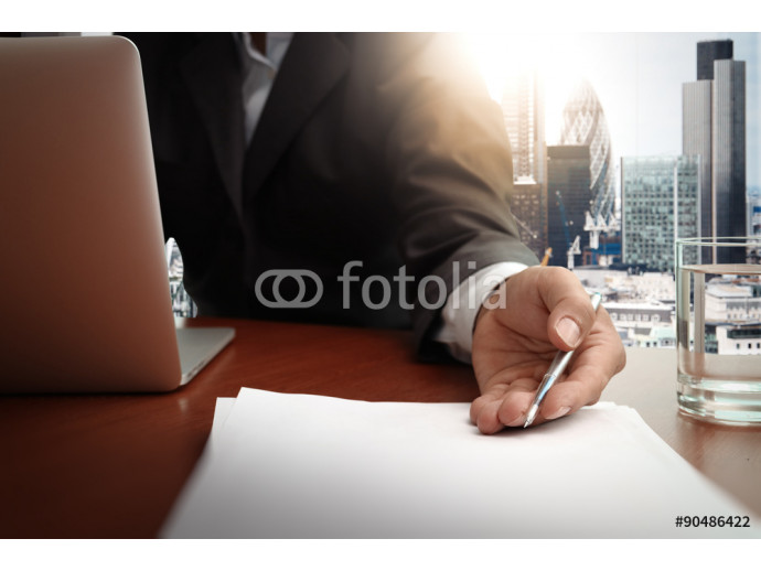 double exposure of businessman or salesman handing over a contra 64238