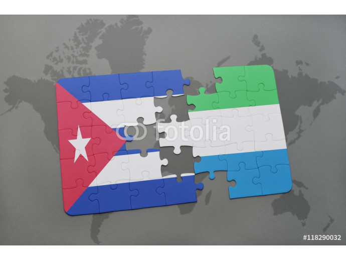 puzzle with the national flag of cuba and sierra leone on a world map background. 64238