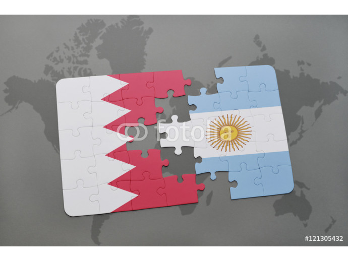 puzzle with the national flag of bahrain and argentina on a world map background. 64238
