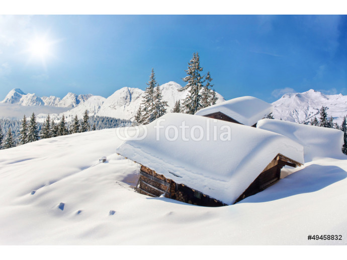 Snow covered hut winter landscape 64238