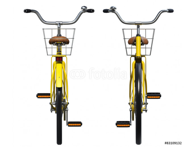 Yellow Vintage Style Bicycle. Front and back view 64238