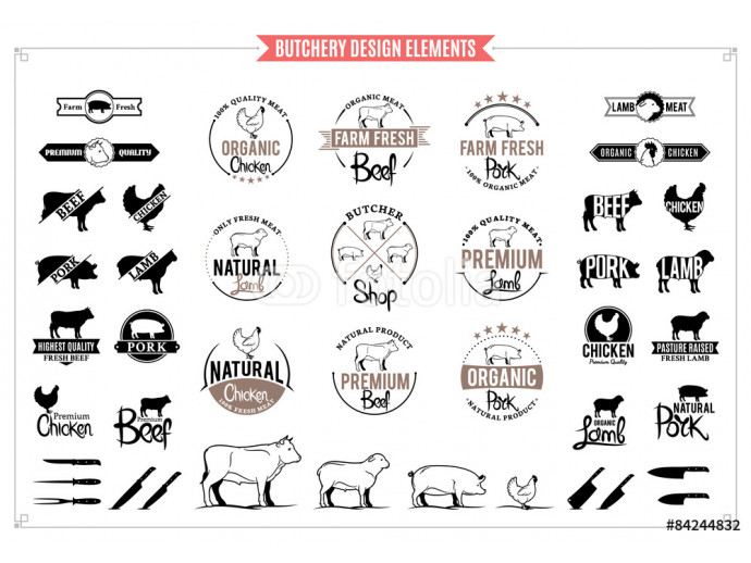 Butchery Logos, Labels, Charts and Design Elements 64238