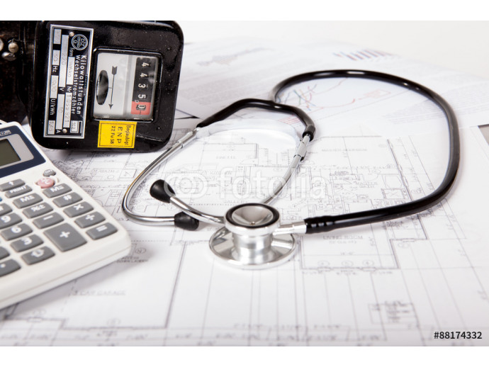 Ananlyse energy costs with electric meter and stethoscope 64238