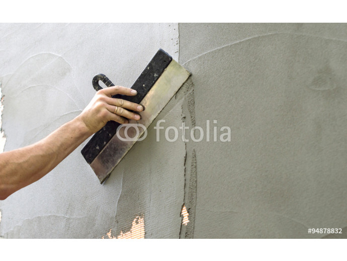 Plastered walls with a spatula 64238