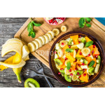 fruit salad in a clay brown dish, close-up, top view 64238