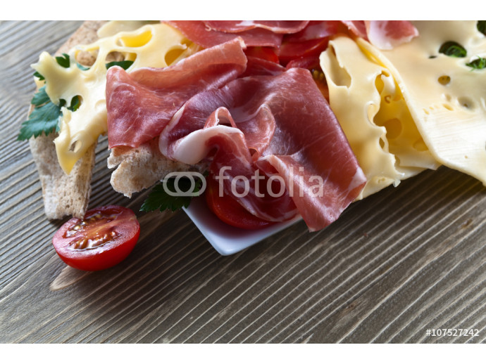 jamon with cheese, tomatoes and greens 64238