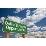 Online Business Opportunities Green Road Sign and Clouds 64238
