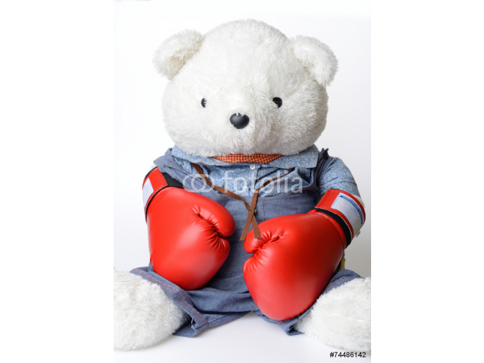 Big white Teddy Bear wear the boxing glove 64238