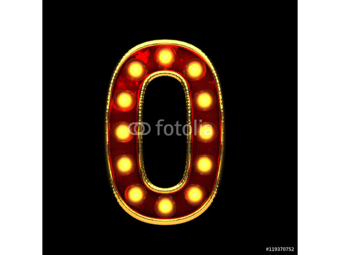 0 isolated golden letter with lights on black. 3d illustration 64238