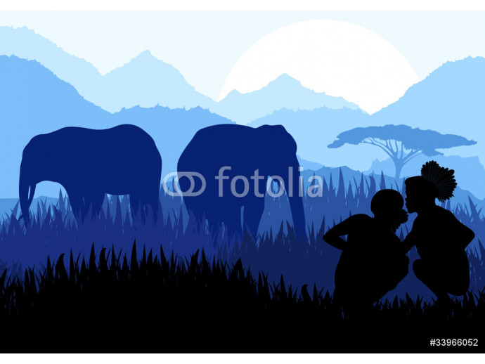 Elephant family and native people in wild nature landscape 64238