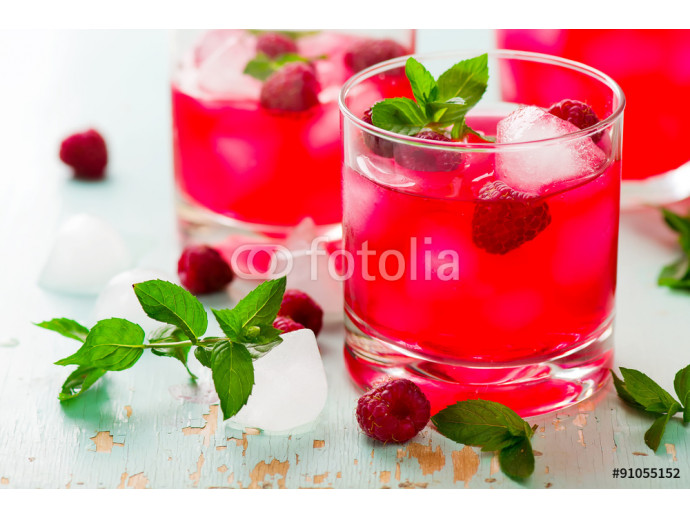 cold drink with raspberry, mint and ice 64238