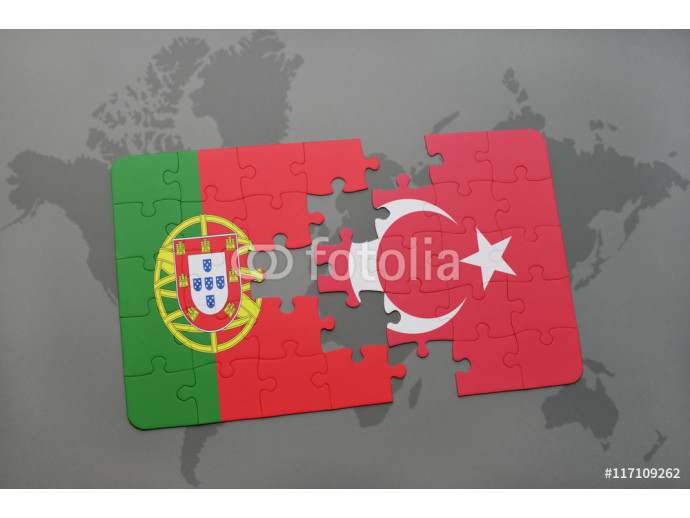 puzzle with the national flag of portugal and turkey on a world map background. 64238