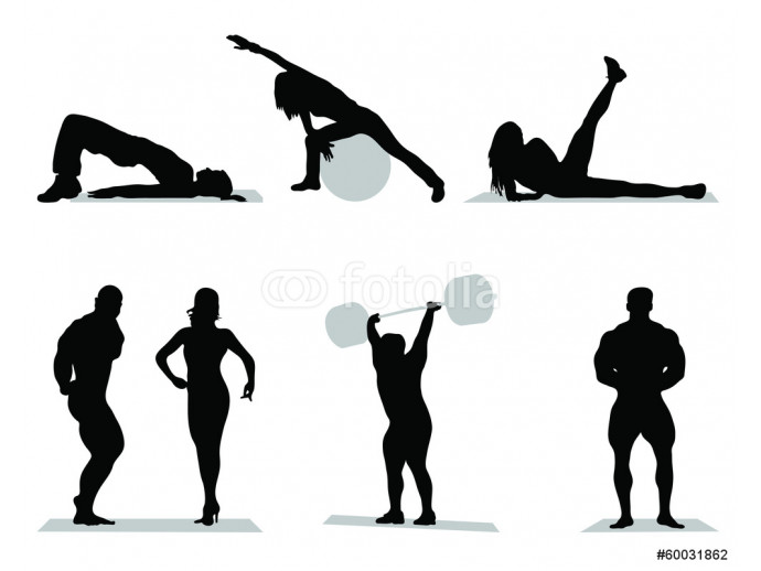 Fototapeta Silhouettes of fitness and bodybuilding,vector 64238