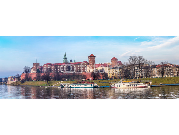 Cracow skyline with aerial view of historic royal Wawel Castle a 64238