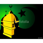 mosque with domes, stars and moon 64238
