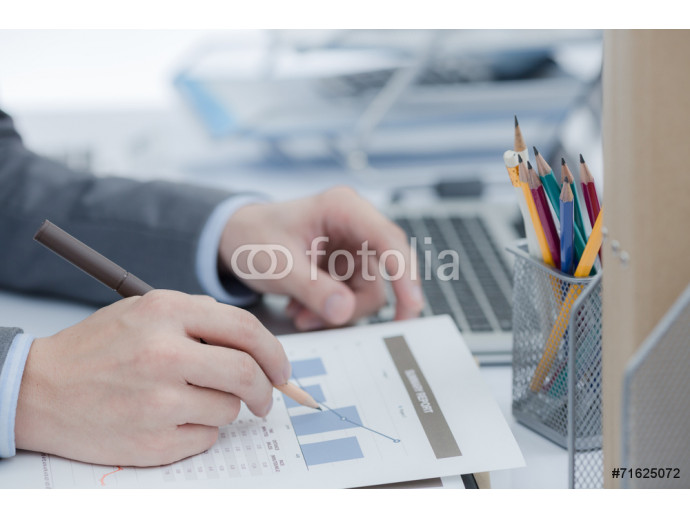 Businessman analyzing investment charts with laptop. Accounting 64238