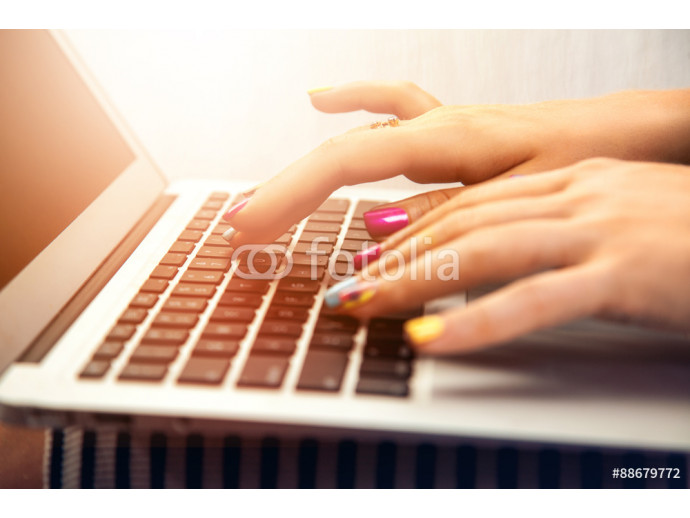 close up photo of woman hand typing on laptop 64238
