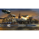 Science fiction city with metallic ring structures on water 64238