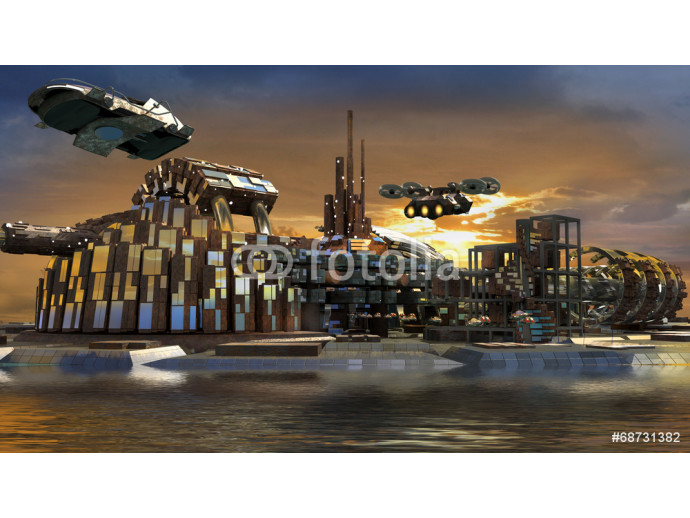 Fotomural decorativo Science fiction city with metallic ring structures on water 64238