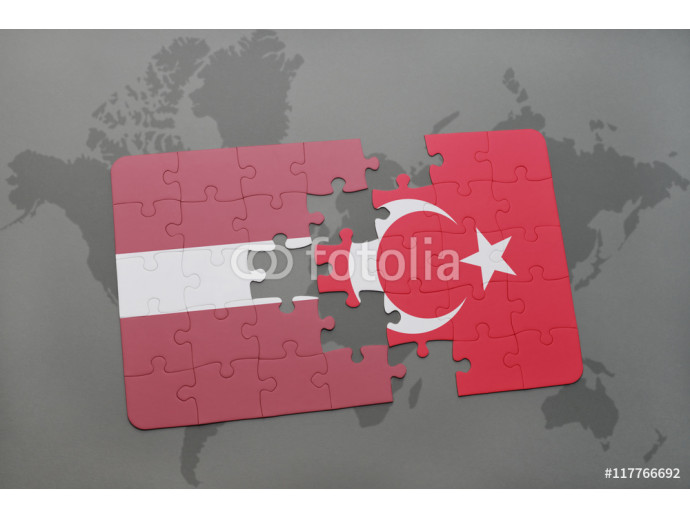 puzzle with the national flag of latvia and turkey on a world map background. 64238