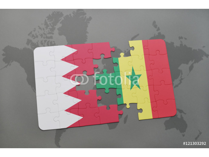 puzzle with the national flag of bahrain and senegal on a world map background. 64238