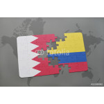puzzle with the national flag of bahrain and colombia on a world map background. 64238