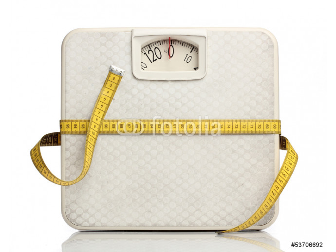 Fotomural decorativo Weight scale with a measuring tape over white 64238