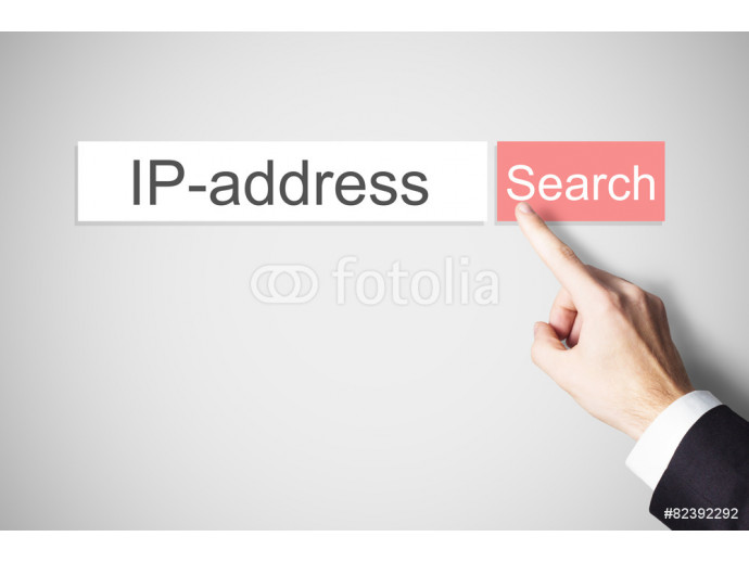 businessman finger pressing search button ip address 64238
