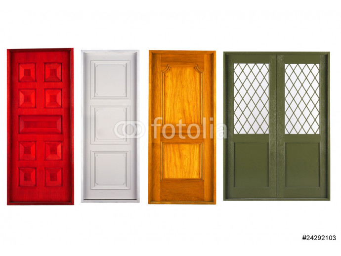 Vliestapete Four closed doors. Isolated on white background 64238