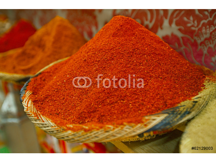 Spices pile (paprika, chillies) in the Marrakesh street shop 64238