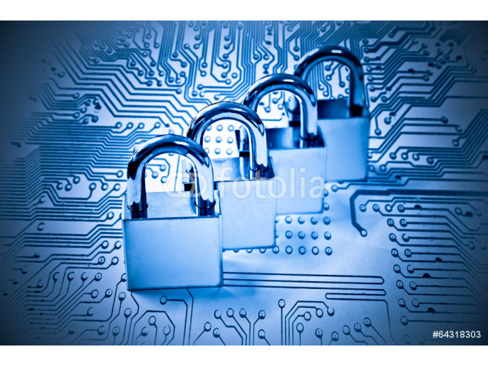 four metal locks on computer circuit board - computer security 64238