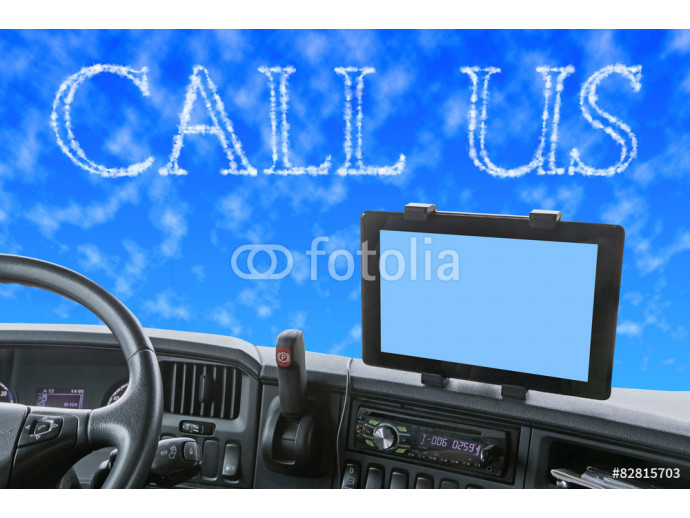 Fototapeta Dashboard of the truck with CALL US words in the blue sky 64238