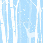 Winter Woods: Illustration of a birch forest in winter with a little bird & Stag 64238