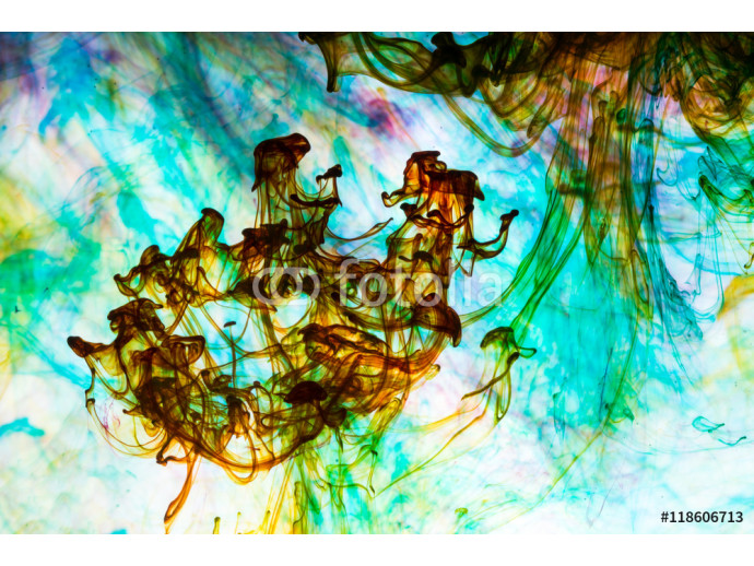 Acrylic colors and ink in water. Abstract background. 64238