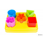 Shape sorter toy with various coloured blocks isolated 64238