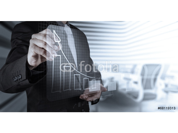 businessman hand working with new modern computer and business s 64238