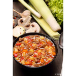 Beef stew soup on a wooden background 64238