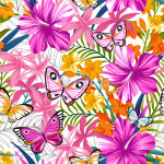 Seamless exotic pattern with tropical leaves, flowers and butterflies. Blooming jungle. Vector illustration. 64238