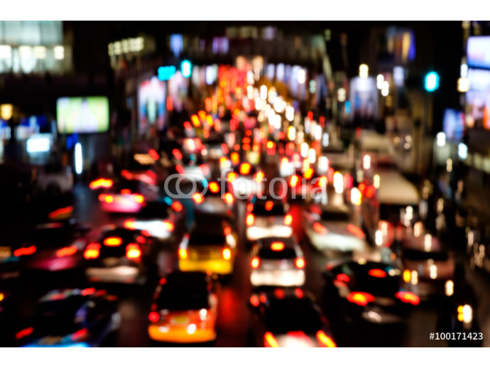 Fototapeta Abstract blur bokeh of traffic jam on road in the city 64238