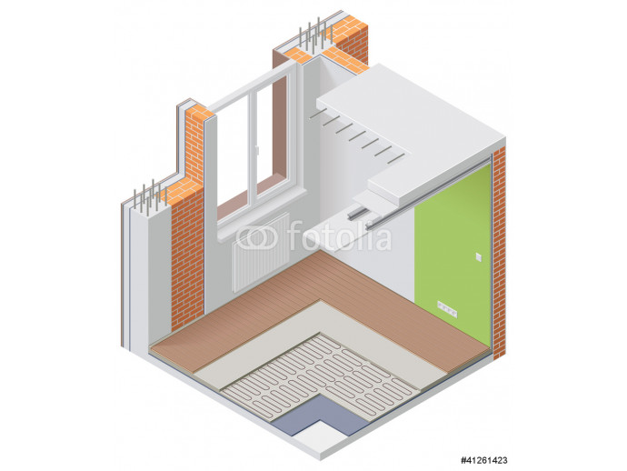 Vector isometric apartment cutaway icon 64238