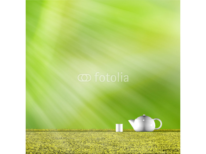Teapot with nice green background 64238
