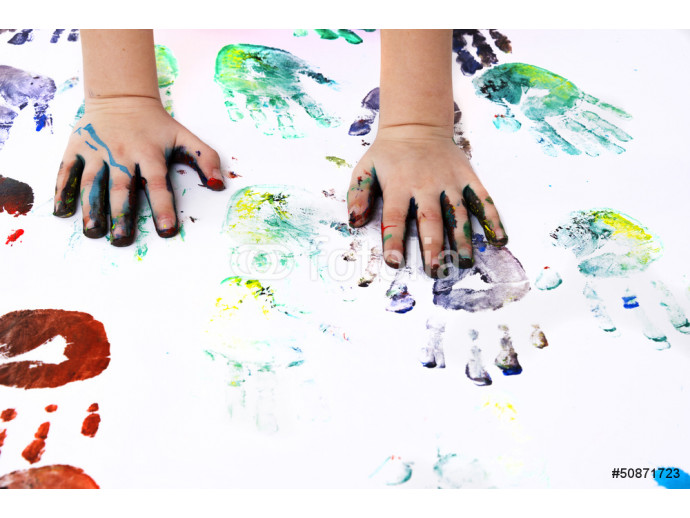 little girl playing with colors - detail of hands 64238