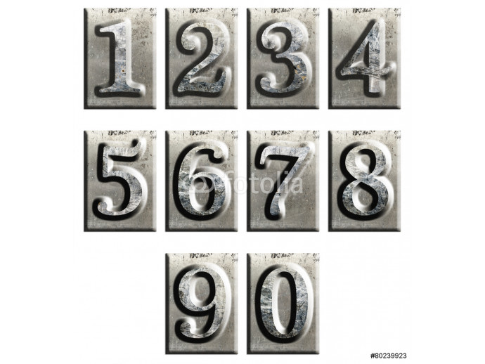 Metal type numbers isolated 64238