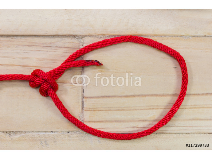 bowline knot made from red synthetic rope, tightening on wooden background 64238