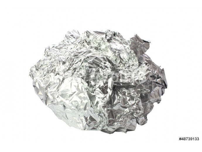 Crumpled tin foil isolated 64238
