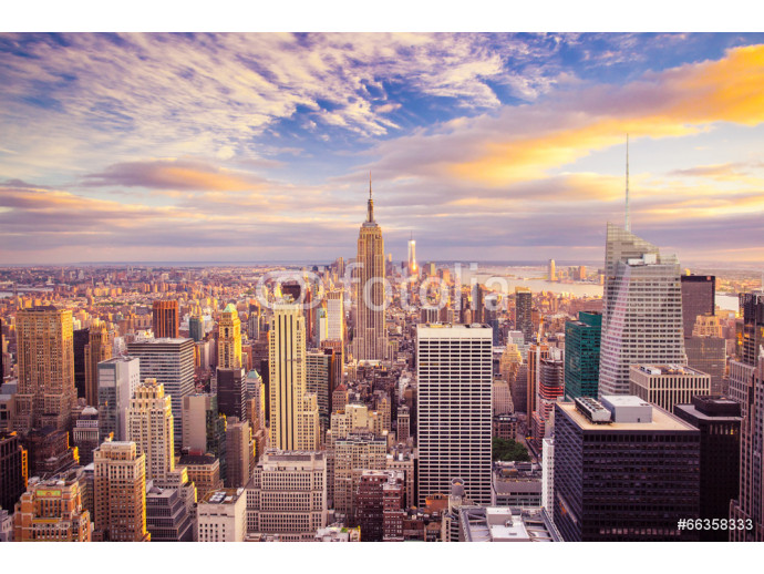 Sunset view of New York City looking over midtown Manhattan 64238