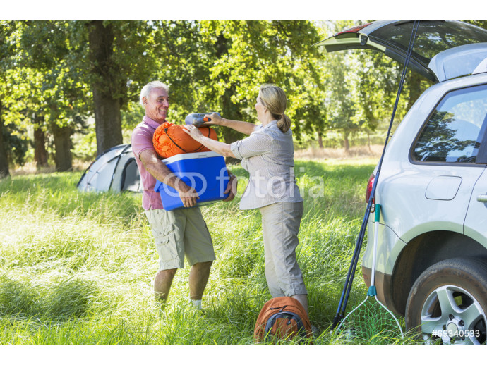 Senior Couple Unpacking Car For Camping Trip In Countryside 64238